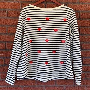 Betsey Johnson Emroidered Hearts Sweatshirt 1X